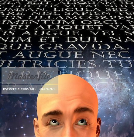Mans head with text in old latin Stock Photo - Budget Royalty-Free, Image code: 400-04376761