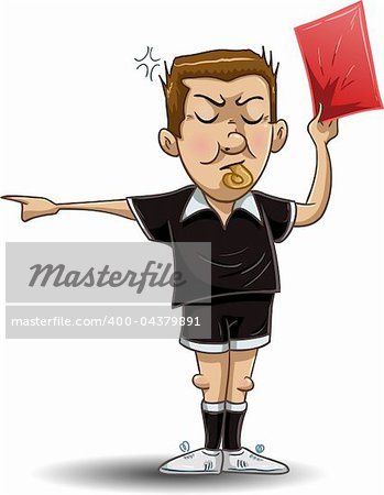 illustration of a soccer referee whistles, holds out a red card and points to the side. Stock Photo - Budget Royalty-Free, Image code: 400-04379891
