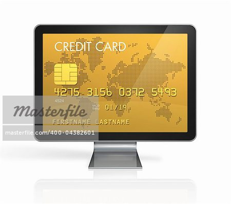 3D render of a gold credit card on a computer screen- isolated on white with 2 clipping paths : one for global scene and one for the screen Stock Photo - Royalty-Free, Artist: daboost, Code: 400-04382601