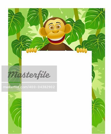 Chimpanzee cartoon and blank sign Stock Photo - Budget Royalty-Free, Image code: 400-04382902