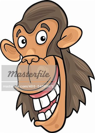cartoon illustration of funny chimpanzee ape Stock Photo - Budget Royalty-Free, Image code: 400-04383471