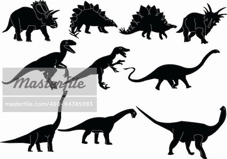 Dinosaurs silhouettes collection - vector Stock Photo - Budget Royalty-Free, Image code: 400-04385983
