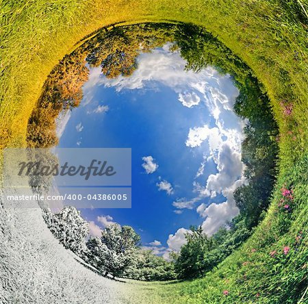 panoramic image looks like planet with seasons change. Ecology and space concept Stock Photo - Budget Royalty-Free, Image code: 400-04386005