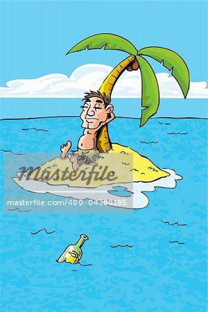 Cartoon of castaway on a desert island. bottle in the sea