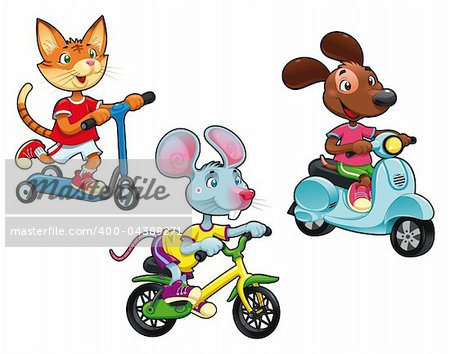 Animals on vehicles. Funny cartoon and vector isolated characters. Stock Photo - Budget Royalty-Free, Image code: 400-04389271