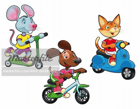 Animals on vehicles. Funny cartoon and vector isolated characters. Stock Photo - Budget Royalty-Free, Image code: 400-04389272