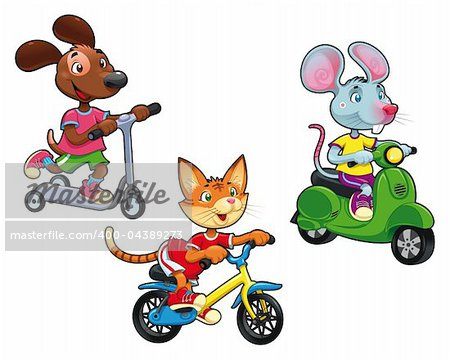 Animals on vehicles. Funny cartoon and vector isolated characters. Stock Photo - Budget Royalty-Free, Image code: 400-04389273