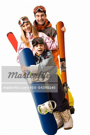 Portrait of happy family with snowboards looking at camera on white background Stock Photo - Royalty-Free, Artist: pressmaster, Code: 400-04390140
