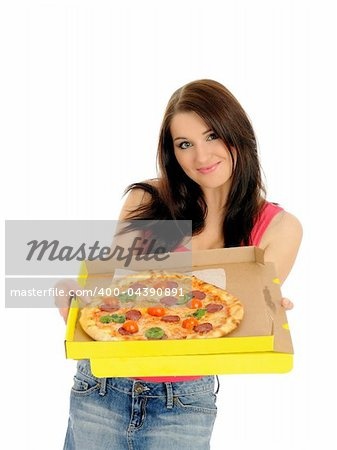 Pretty young casual woman with tasty pizza in delivery paper box. isolated on white background Stock Photo - Budget Royalty-Free, Image code: 400-04390891