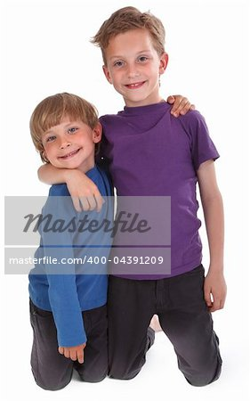 two happy brothers against white background Stock Photo - Budget Royalty-Free, Image code: 400-04391209