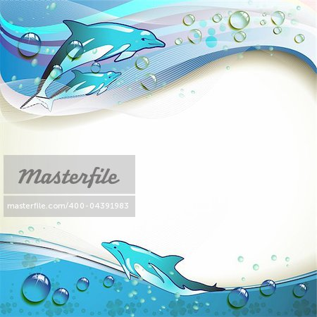 Background with dolphins and drops of water Stock Photo - Budget Royalty-Free, Image code: 400-04391983