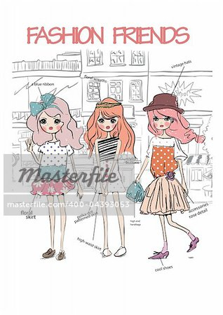 illustration summer shopping street girls  sketch drawing penciled vector