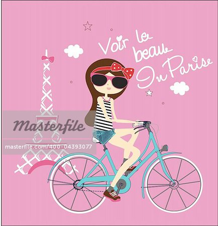 fashion bicycle girls illustration sketch drawing penciled vector