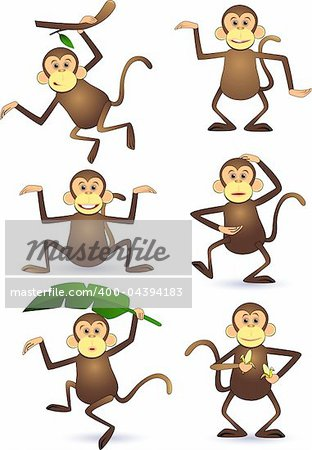 Cute monkey cartoon vector Stock Photo - Budget Royalty-Free, Image code: 400-04394183