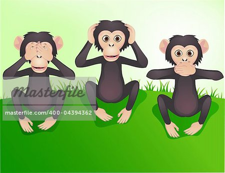 Three wishes monkey, hear no evil, speak no evil, see no evil Stock Photo - Budget Royalty-Free, Image code: 400-04394362