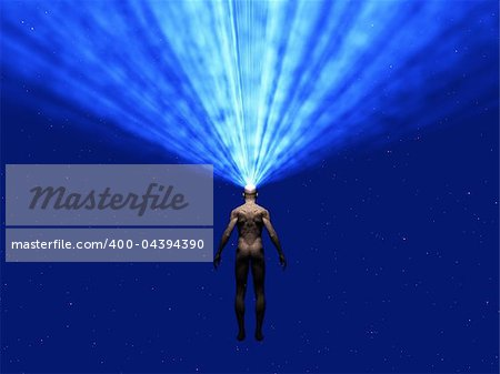 man radiates light from head Stock Photo - Budget Royalty-Free, Image code: 400-04394390
