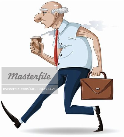 A vector illustration of an old businessman walking with a briefcase and a hot take-away coffee cup. Stock Photo - Budget Royalty-Free, Image code: 400-04395421