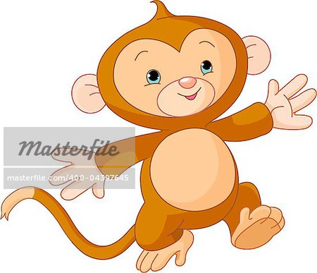 Illustration of Happy little Monkey skipping runs Stock Photo - Budget Royalty-Free, Image code: 400-04397645