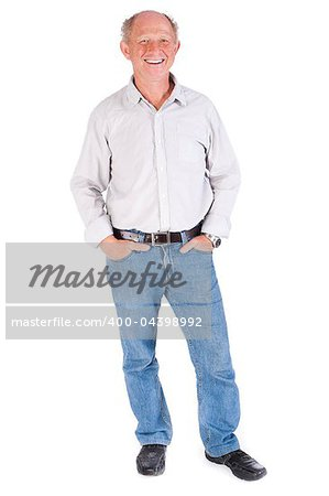 Studio portrait of smiling senior man in casuals against white background. Stock Photo - Budget Royalty-Free, Image code: 400-04398992