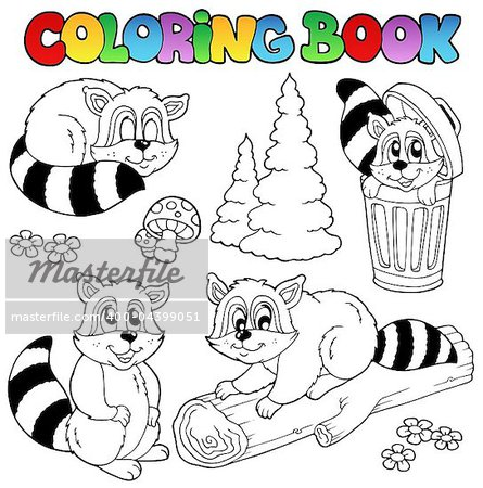 Coloring book with cute raccoons - vector illustration. Stock Photo - Budget Royalty-Free, Image code: 400-04399051