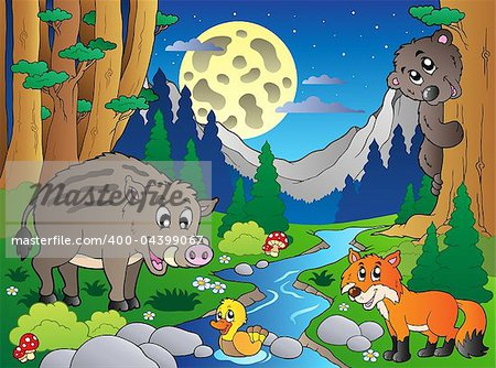 Forest scene with various animals 4 - vector illustration.