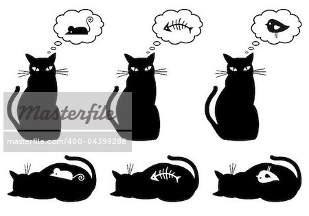 cat dreaming about eating, vector illustration