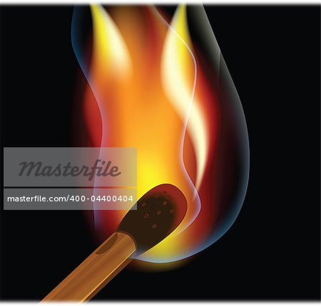 Burning match on a black background match on a black background Stock Photo - Budget Royalty-Free, Image code: 400-04400404