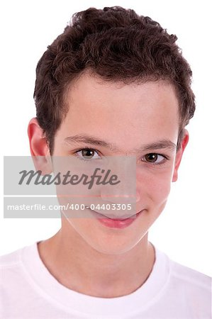 cute boy, smiling, isolated on white, studio shot Stock Photo - Budget Royalty-Free, Image code: 400-04403305