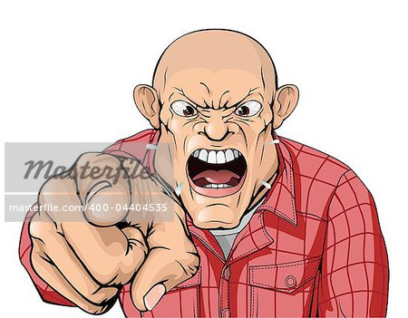 An angry man with shaved head shouting and pointing Stock Photo - Budget Royalty-Free, Image code: 400-04404535