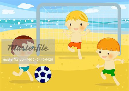Summer time digital illustration with children having fun at seaside Stock Photo - Budget Royalty-Free, Image code: 400-04406428