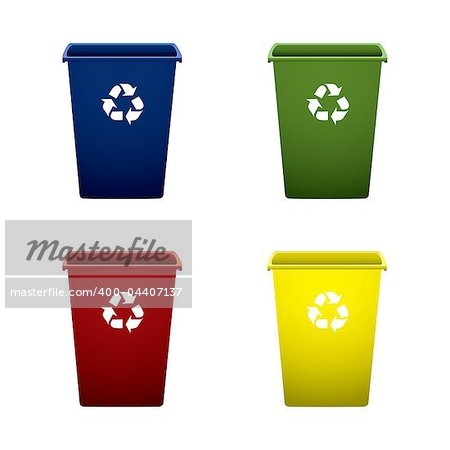 Collection of colourful recycle trash or rubbish bins Stock Photo - Budget Royalty-Free, Image code: 400-04407137