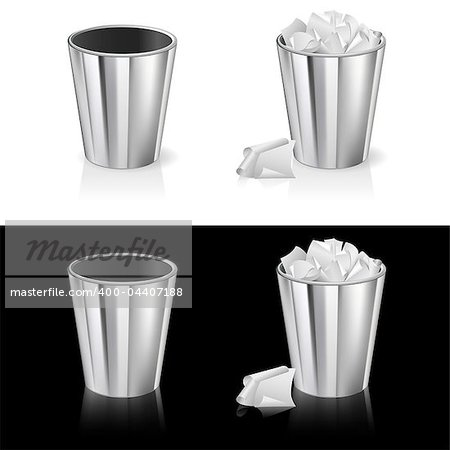 Set of Garbage can. Isolated on white and black background. Stock Photo - Budget Royalty-Free, Image code: 400-04407188