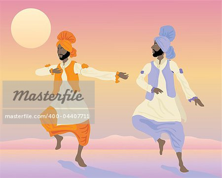 an illustration of two punjabi dancers with colorful traditional clothing dancing under a sunset sky Stock Photo - Budget Royalty-Free, Image code: 400-04407711