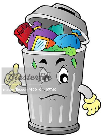 Angry cartoon trash can - vector illustration. Stock Photo - Budget Royalty-Free, Image code: 400-04407780