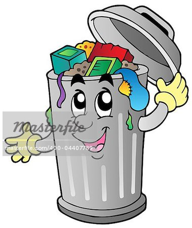 Cartoon trash can - vector illustration. Stock Photo - Budget Royalty-Free, Image code: 400-04407789