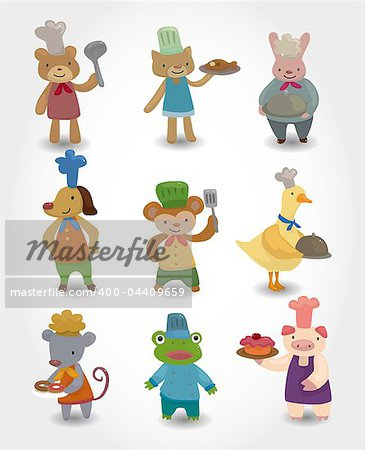 cartoon animal chef icons set Stock Photo - Budget Royalty-Free, Image code: 400-04409659