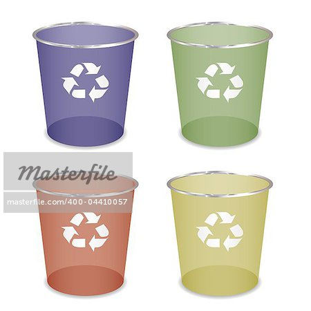 Brightly coloured recycle trash or waste bin Stock Photo - Budget Royalty-Free, Image code: 400-04410057
