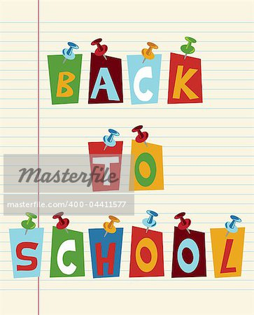 Back to school funny multicolored text with pushpins.