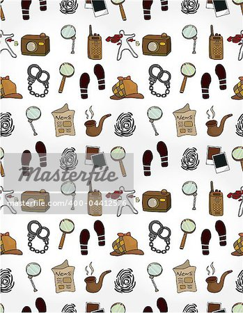 Cartoon detective equipment  seamless pattern