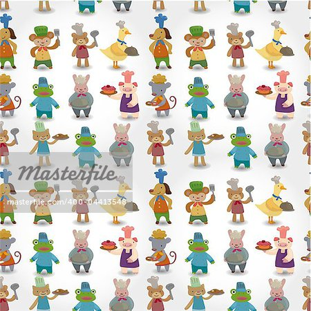 cartoon animal chef seamless pattern Stock Photo - Budget Royalty-Free, Image code: 400-04413548