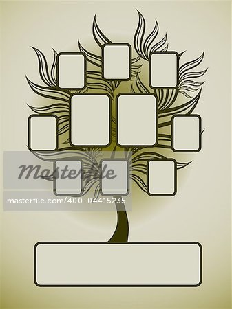 Vector family tree design with frames and autumn leafs. Place for text. Stock Photo - Budget Royalty-Free, Image code: 400-04415235