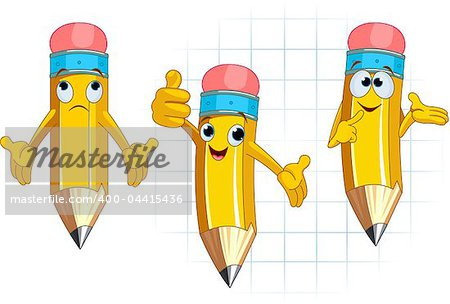 Pencil Character Different facial expressions and posing Stock Photo - Budget Royalty-Free, Image code: 400-04415436