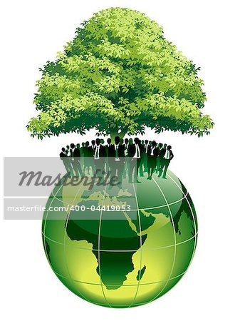 Businesspeople are standing on a large world globe, under a big green tree Stock Photo - Budget Royalty-Free, Image code: 400-04419053