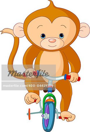 Monkey  on Bicycle in circus Stock Photo - Budget Royalty-Free, Image code: 400-04419108