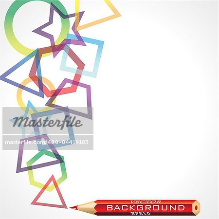Abstract geometric background, vector illustration, eps10; there are three layers: 1-figures, 2-pencil, 3- text.