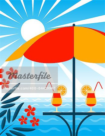 vector beach bar scene, Adobe Illustrator 8 format Stock Photo - Budget Royalty-Free, Image code: 400-04419947