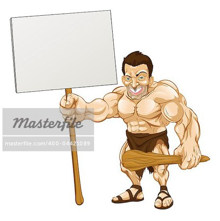 A cartoon illustration of a muscular caveman holding a sign Stock Photo - Budget Royalty-Free, Image code: 400-04421089