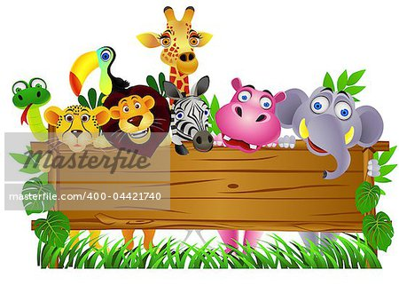Vector illustration of Animal cartoon and blank sign Stock Photo - Budget Royalty-Free, Image code: 400-04421740