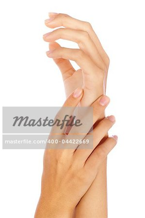 Beautiful female hands isolated on white background. Stock Photo - Budget Royalty-Free, Image code: 400-04422669