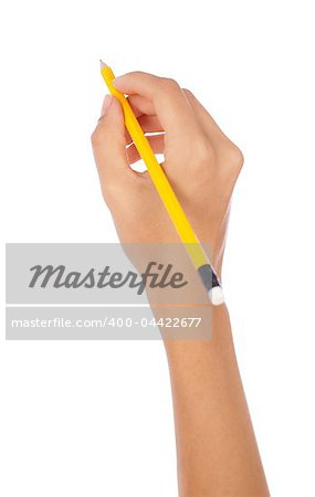 hand holding a pencil on isolated background Stock Photo - Budget Royalty-Free, Image code: 400-04422677